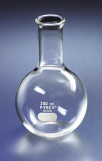 FLASKS, FLORENCE, BOILING, FLAT BOTTOM, LONG NECK, TOOLED MOUTH, PYREX®